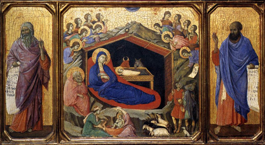 Duccio Di Buoninsegna The Nativity between Prophets Isaiah and Ezekiel